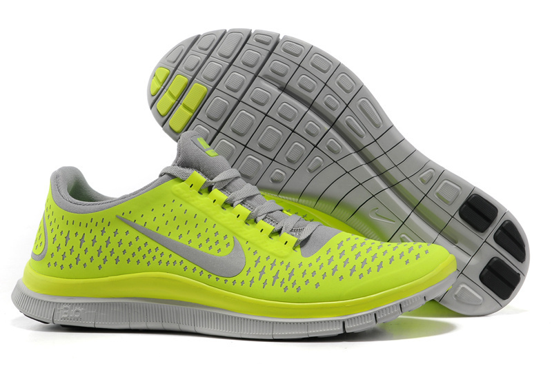 Nike Free 3.0 V4 Running Shoes Yellow Grey
