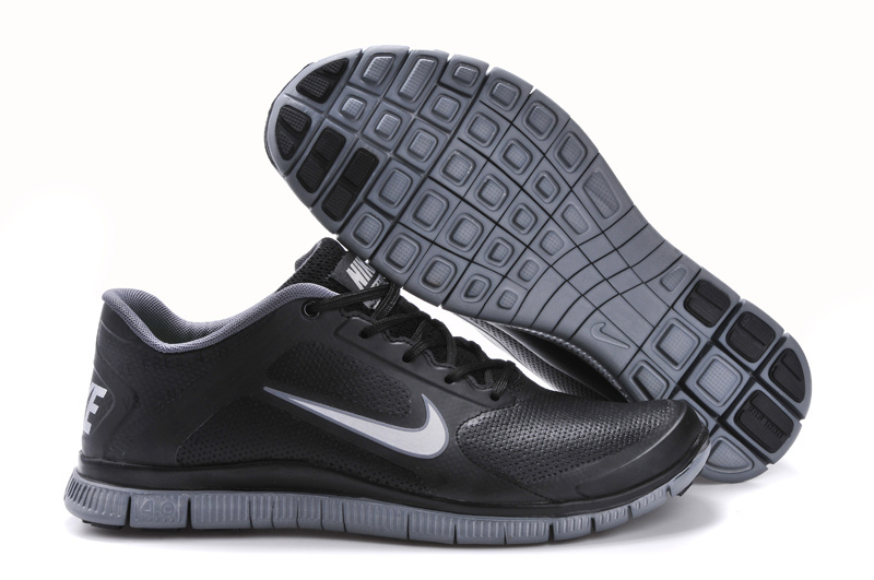 mens nike free 4.0 v3 leather running shoes black\/grey morels