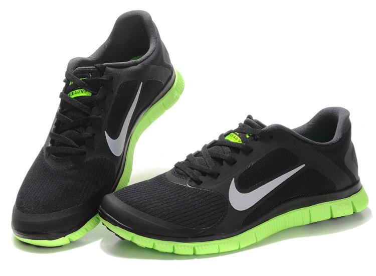 size 40 f3b93 ad14e Nike Free 4.0 V2 Black Green White Running Shoes