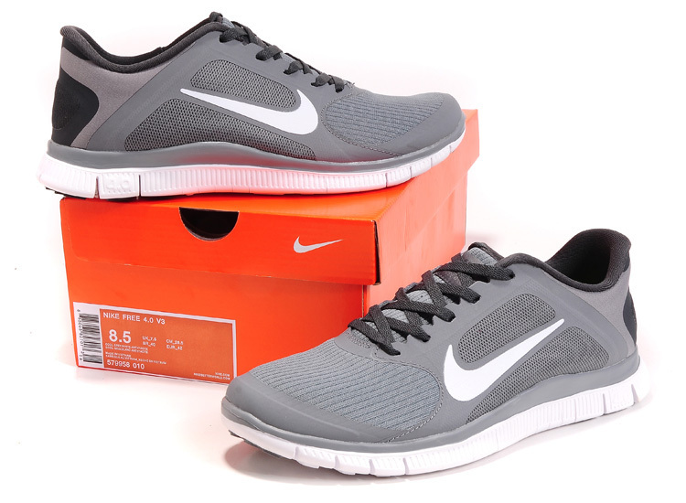 new concept 3d566 2fa02 Nike Free 4.0 V2 Grey Black White Running Shoes