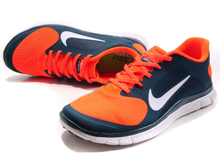 Nike Free 4.0 V2 Orange Blue White Running Shoes