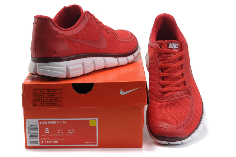 Nike Free 5.0 Running Shoes Grenadine Red White