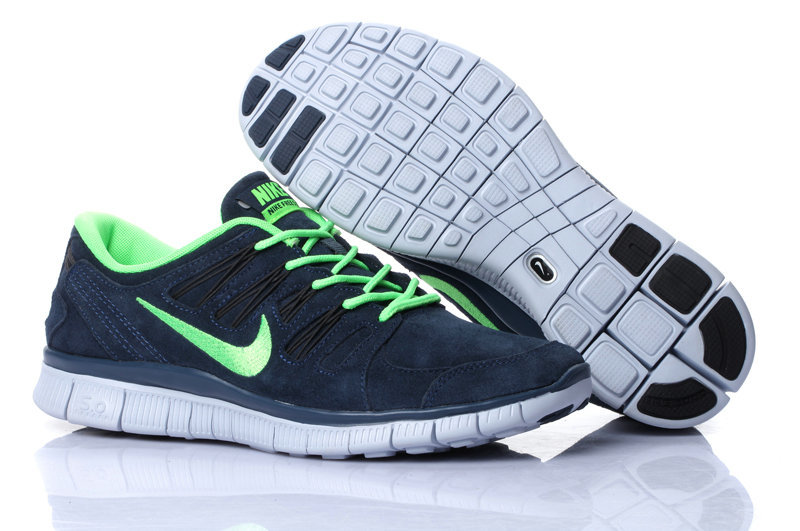 Nike Free Run 5.0 Suede Grey Green Running Shoes