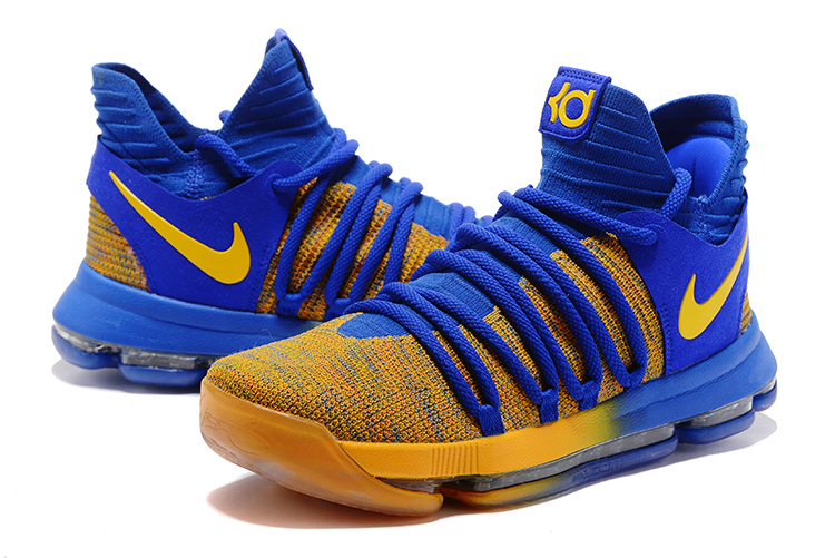 Nike KD 10 Blue Yellow Basketball Shoes