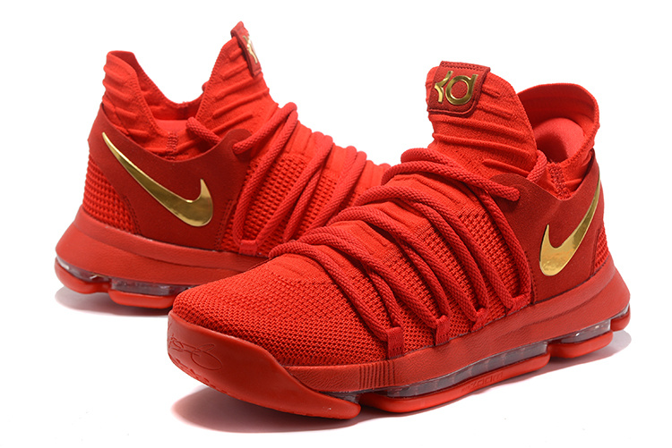 Nike KD 10 Red Gold Basketball Shoes