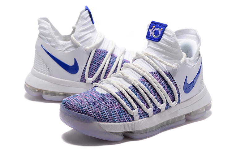 Nike KD 10 White Blue Basketball Shoes