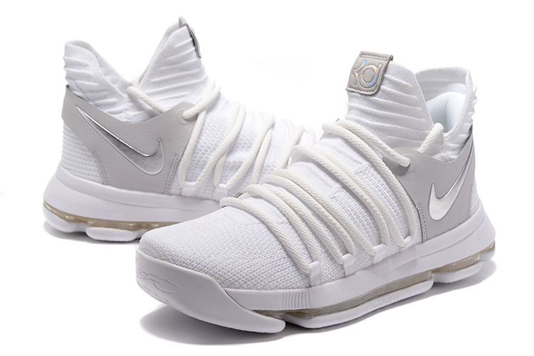 Nike KD 10 White Grey Silver Basketball Shoes