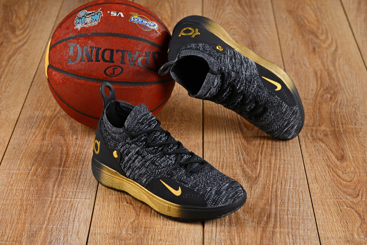 Nike KD 11 Black Grey Gloden Basketball Shoes