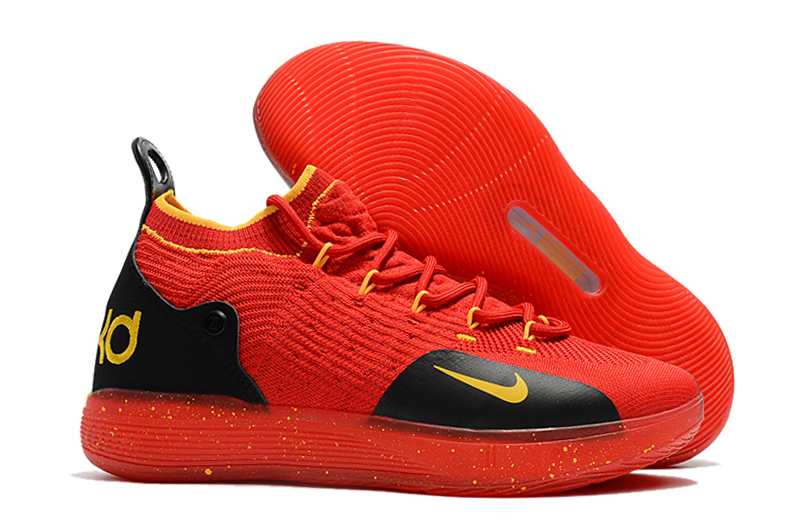 Nike KD 11 Red Black Gloden Swoosh Basketball Shoes
