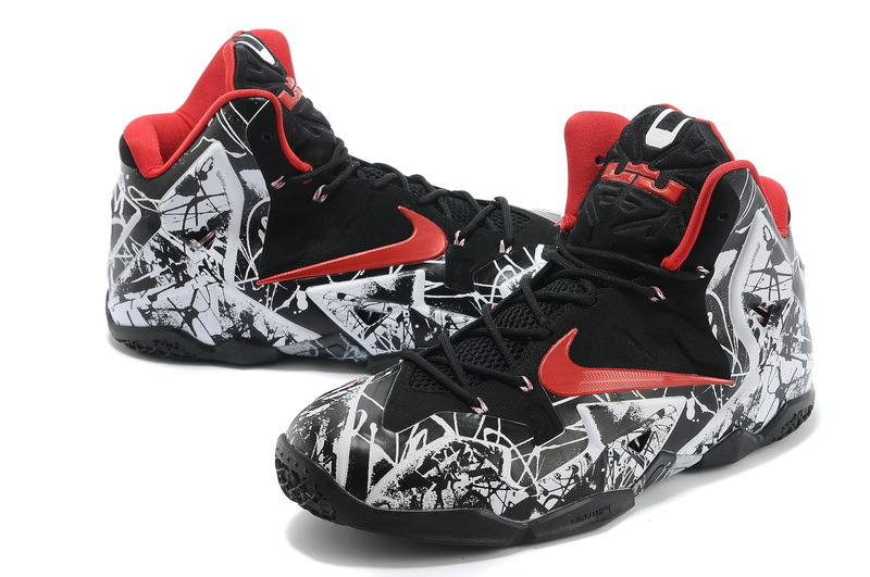 Nike Lebron 11 Painting White Black Red Basktabll Shoes