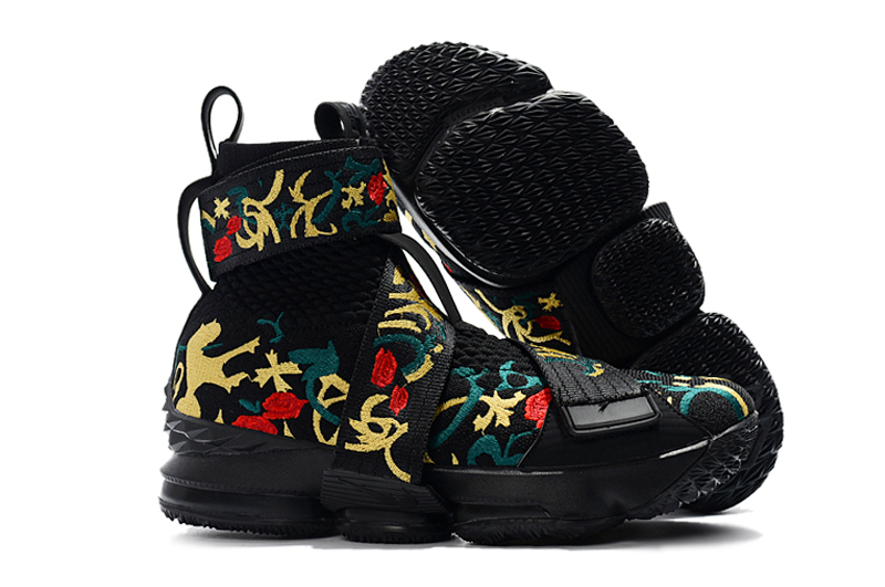 Nike Lebron 15 Black Gloden Flowers Shoes