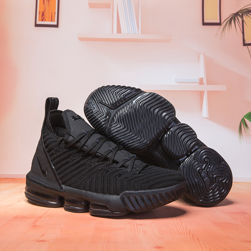 Nike Lebron 16 All Black Swoosh Basketball Shoes