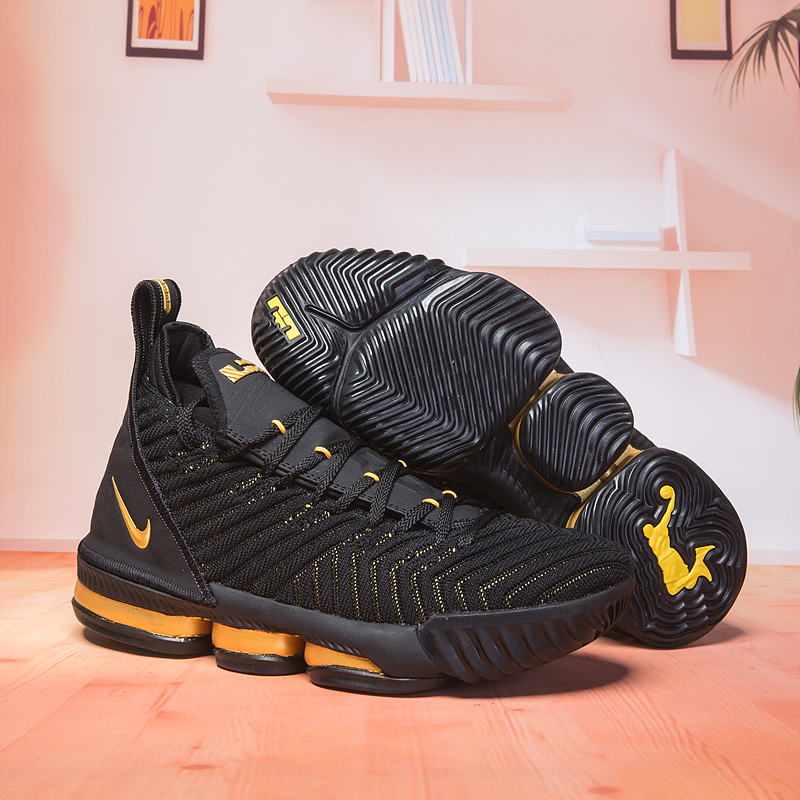 Nike Lebron 16 Black Gloden Swoosh Basketball Shoes