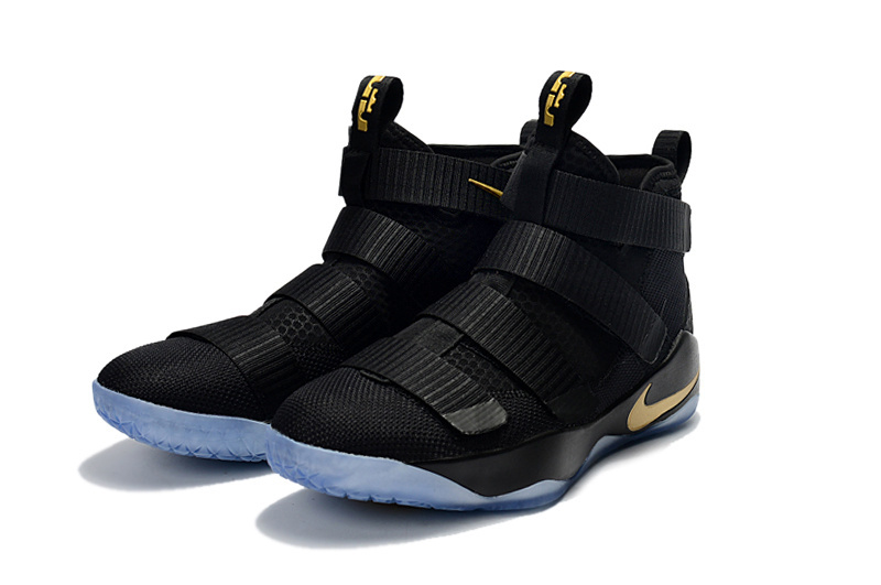 Nike Lebron Soldier 11 Black Gold Basketball Shoes For Women