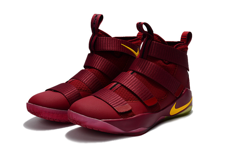 Nike Lebron Soldier 11 Wine Red Yellow Basketball Shoes For Women