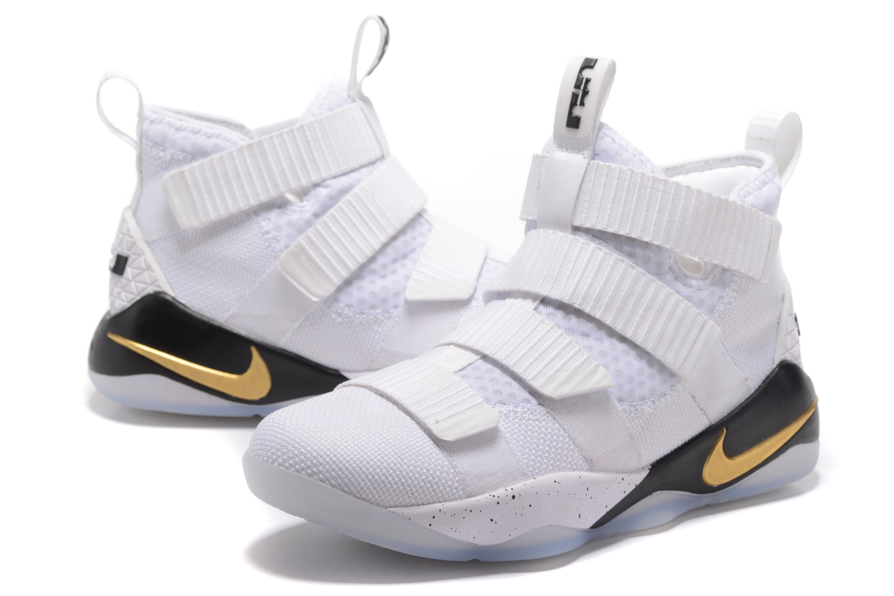 Nike Lebron Solider 11 White Gloden Basktabll Shoes