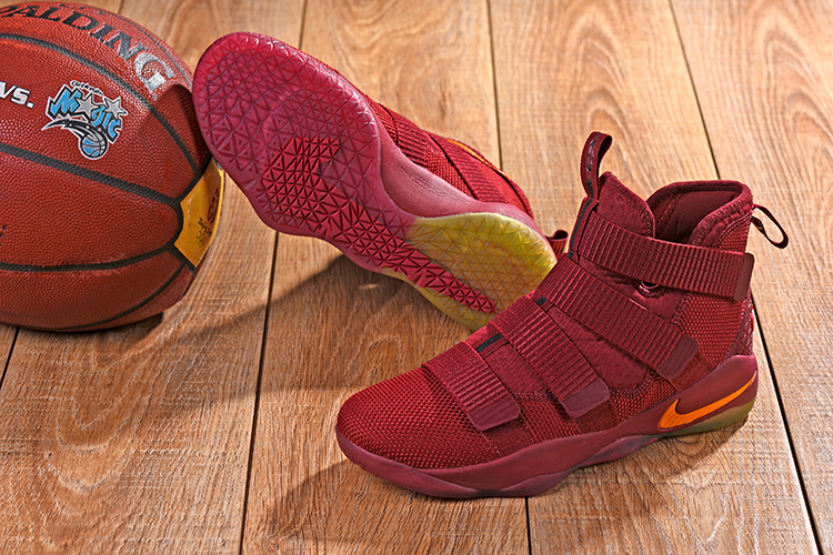 Nike Lebron Solider 11 Wine Red Yellow Shoes
