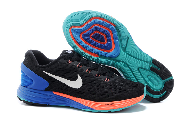 Nike Moofall 6 Black Blue Orange Sport Shoes For Women