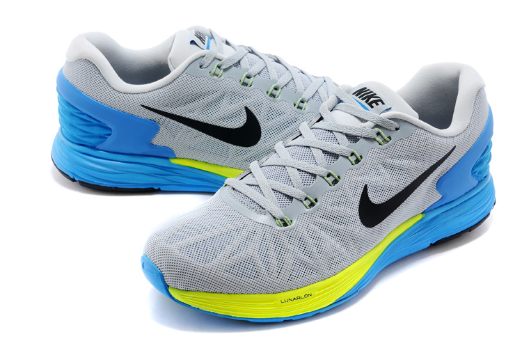 Nike Moofall 6 Grey Blue Yellow Sport Shoes