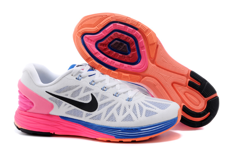 Nike Moofall 6 White Blue Pink Running Shoes For Women