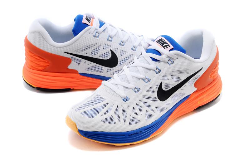 Nike Moofall 6 White Orange Blue Sport Shoes