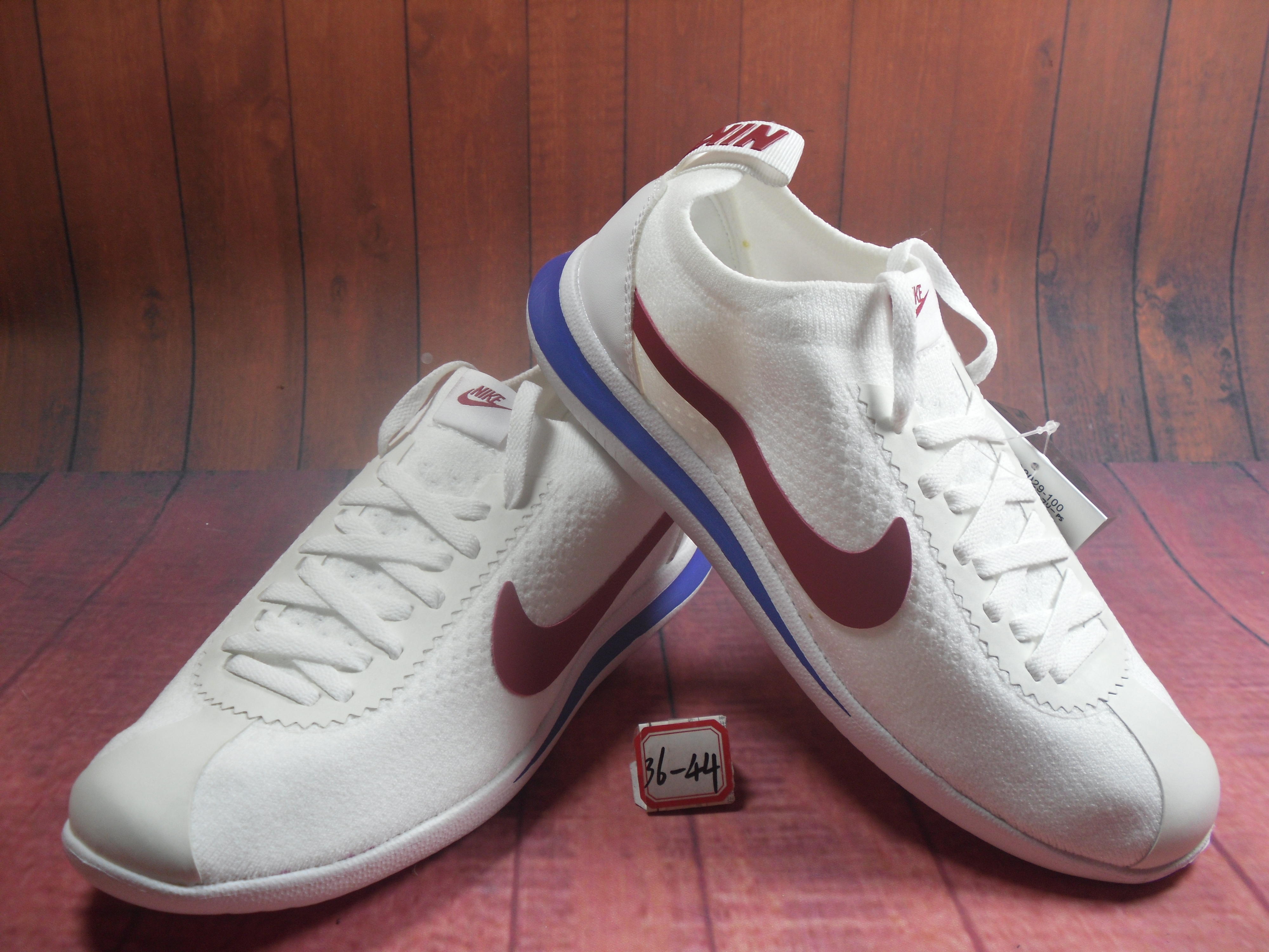 Nike NSW Cortez Flyknit White Red Blue Shoes