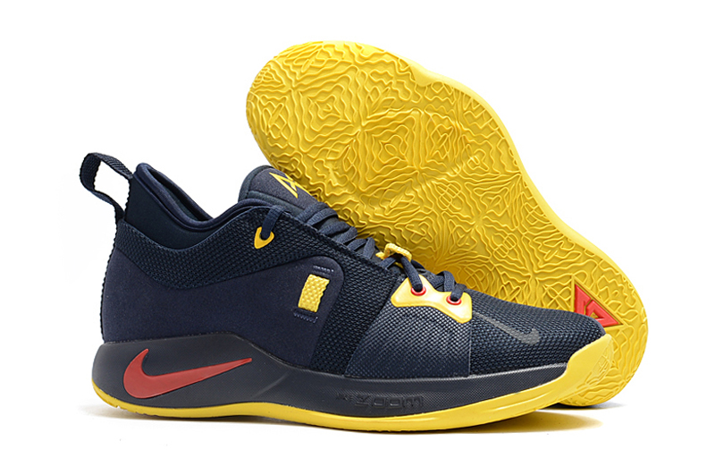 Nike Paul George 2 Dark Blue Yellow Shoes