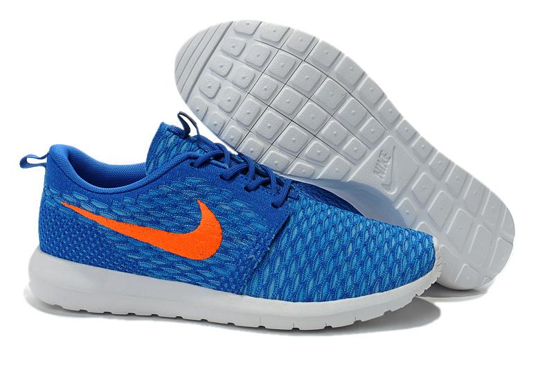 pretty nice 20d12 523d1 Nike Roshe Flyknit Blue Orange Sport Shoes