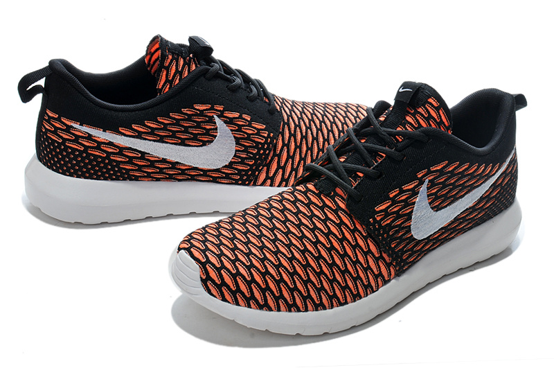 Nike Roshe Flyknit Orange Black Sport Shoes