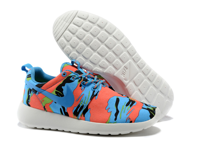 Nike Roshe Run 3M Blue Red White Shoes