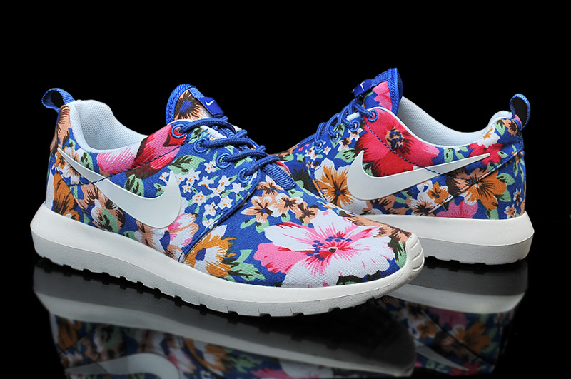 more photos 93814 59073 ... flowers blue grey pink white c7e31 4dc46  coupon for nike roshe run  follower print white blue red shoes for women 05f59 977ec