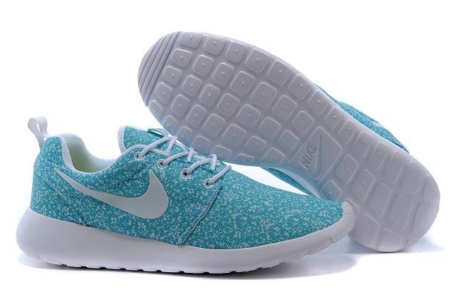 Nike Roshe Run Mesh Printing Baby Blue White Shoes
