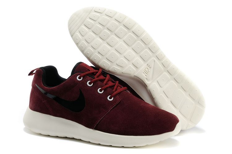 Nike Roshe Run Wine Red White Black Swoosh Shoes