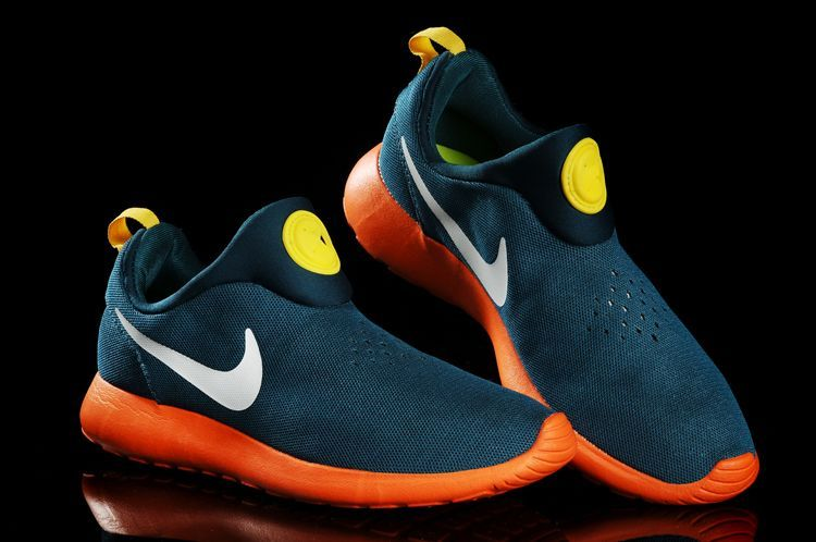 Nike Rosherun Slip On Dark Blue Orange White Swoosh Shoes
