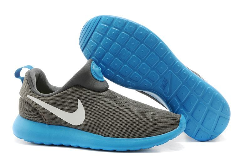 Nike Rosherun Slip On Grey Blue White Swoosh Shoes