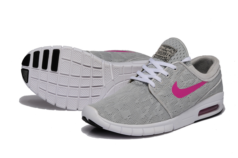 Women Nike SB Stefan Janoski Max Light Grey Peach Red Shoes
