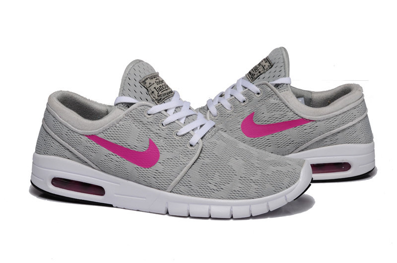 Women Nike SB Stefan Janoski Max Light Grey Peach Red Shoes