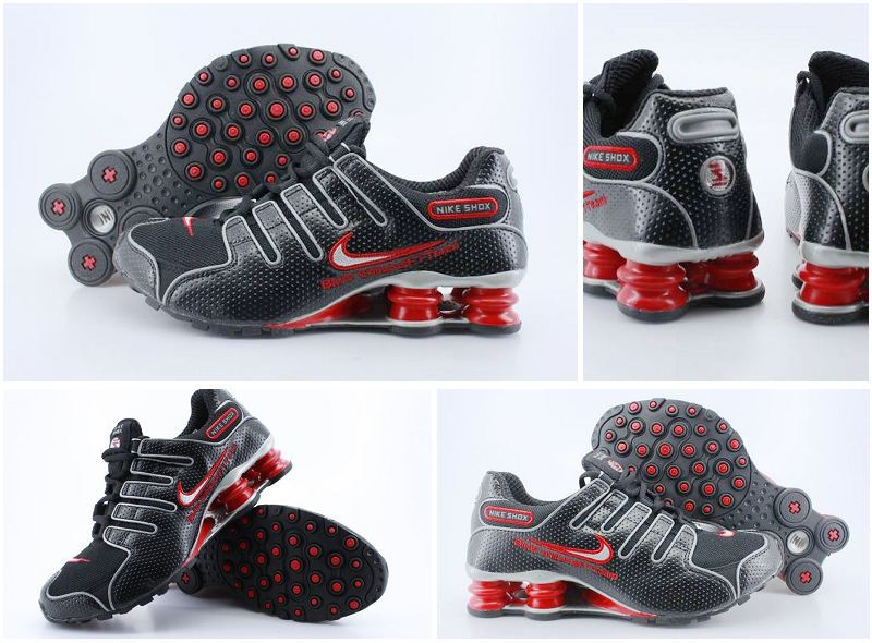 Women Nike Shox NZ Shoes Dark Black Red