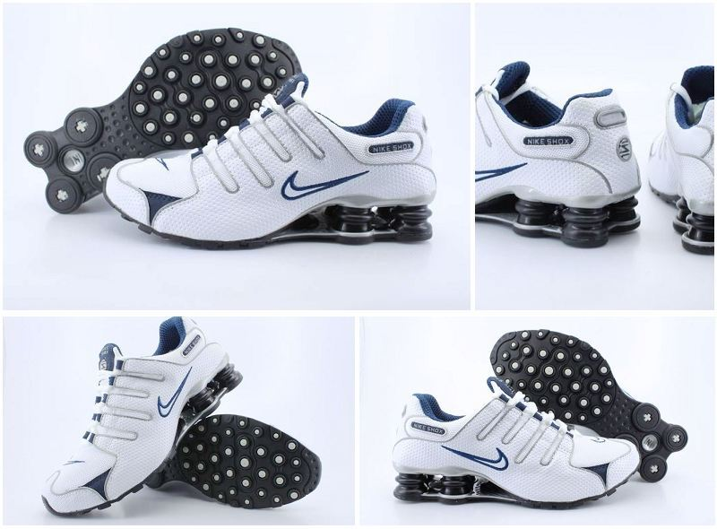 Women Nike Shox NZ Shoes White Dark Blue