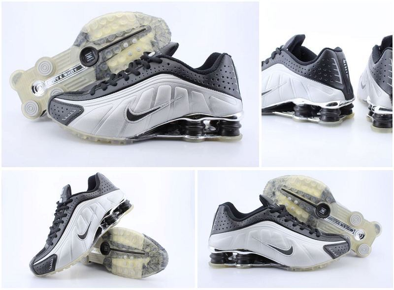 b79314d2da88 Men s Nike Shox R4 Black Silver Transparent Sole Shoes