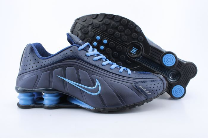 Nike Shox R4 Shoes Dark Blue Swoosh