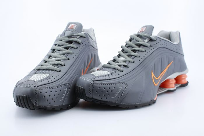 Nike Shox R4 Shoes Grey Orange Swoosh
