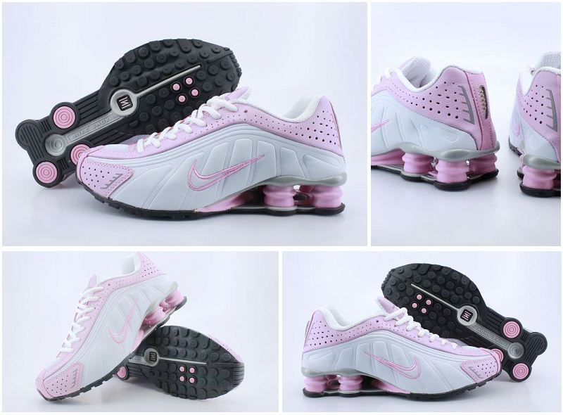 Women Nike Shox R4 Shoes White Pink Line