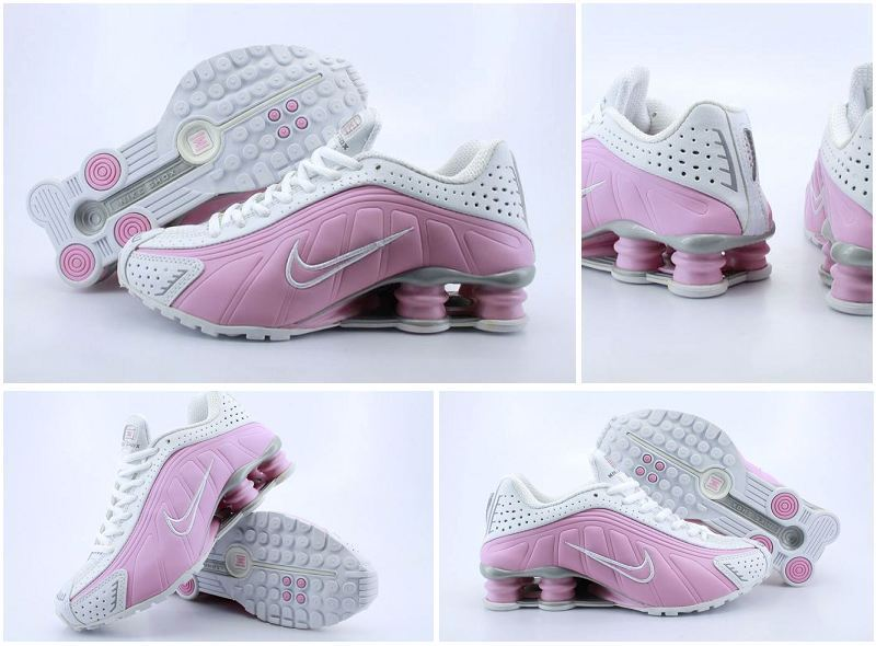 Women Nike Shox R4 Shoes White Pink Logo