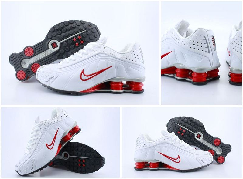 Women Nike Shox R4 Shoes White Red Logo