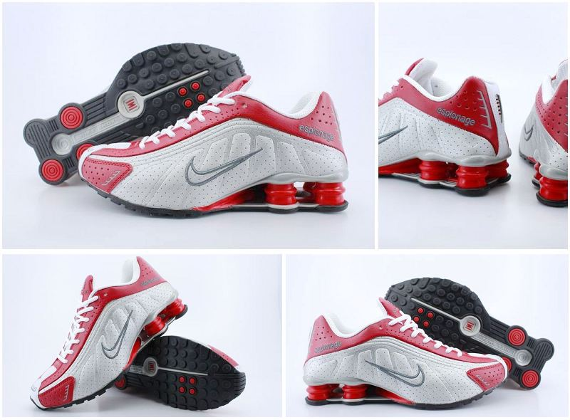 Women Nike Shox R4 Shoes White Red White Logo