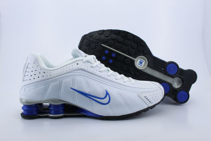 Nike Shox R4 Shoes White Blue Air Cushion