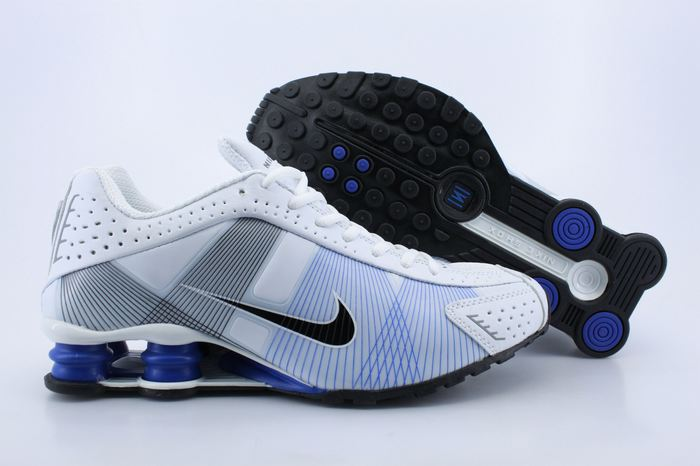 Nike Shox R4 Shoes White Blue Grey Black Swoosh