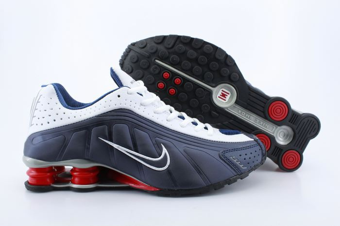 Nike Shox R4 Shoes White Dark Blue Red Air Cushion