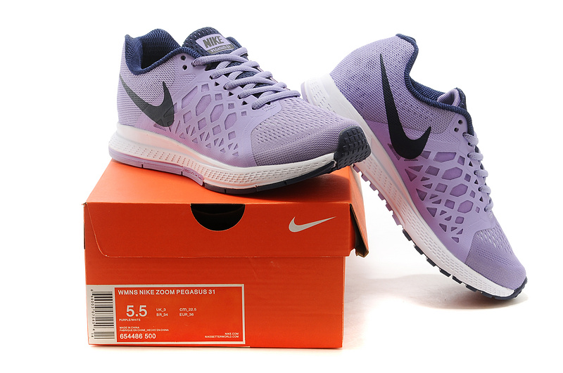 Nike Zoom Pegasus 31 Light Purple Black Sport Shoes For Women
